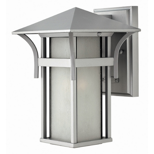 Hinkley Lighting Outdoor Wall Light with White Glass in Titanium Finish 2579TT