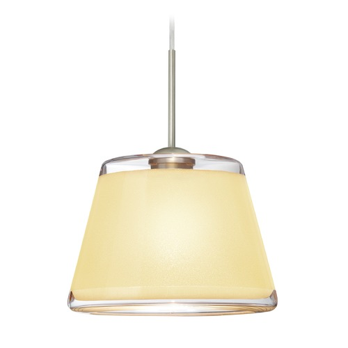 Besa Lighting Besa Lighting Pica Satin Nickel Mini-Pendant Light with Empire Shade 1JT-PIC9CR-SN