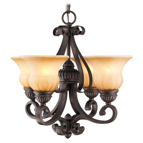 Golden Lighting Golden Lighting Mayfair Leather Crackle Mini-Chandelier 7116-GM4 LC