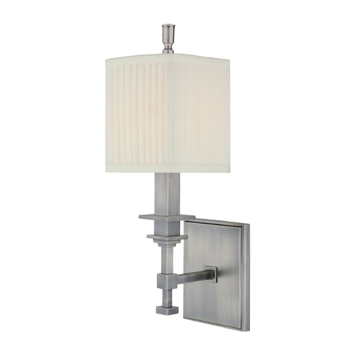 Hudson Valley Lighting Sconce Wall Light with White Shade in Antique Nickel Finish 241-AN