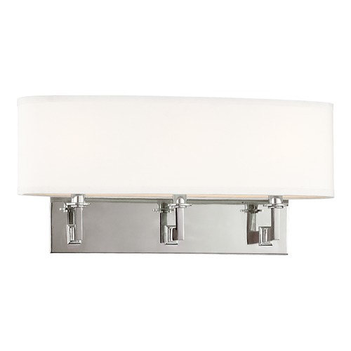 Hudson Valley Lighting Modern Sconce Wall Light with White Shades in Polished Nickel Finish 593-PN