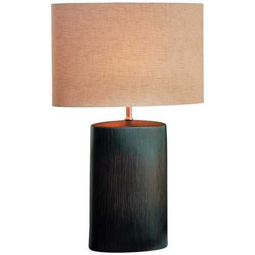 Lite Source Lighting Table Lamp with White Shade in Antique Bronze Finish LS-21024