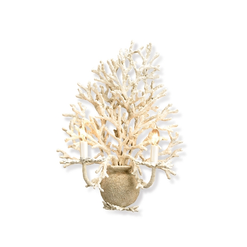 Currey and Company Lighting Plug-In Wall Lamp in White Coral/ Natural Sand Finish 5035