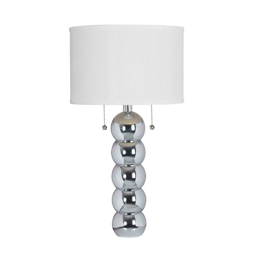 Kenroy Home Lighting Modern Table Lamp with White Shade in Chrome Finish 32140CH