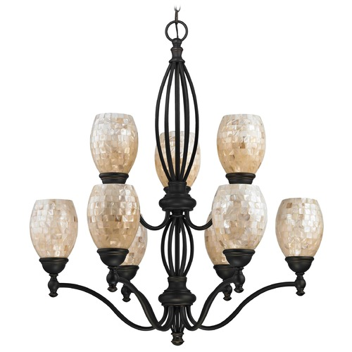 Design Classics Lighting Mosaic Glass Chandelier - Bolivian Finish 2922-78 GL1034