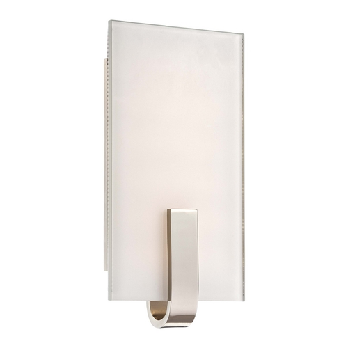 George Kovacs Lighting Modern LED Sconce Wall Light with White Glass in Polished Nickel Finish P1140-613-L