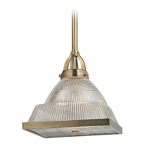 Hudson Valley Lighting Hudson Valley Lighting Harriman Aged Brass Pendant Light with Square Shade 4414-AGB