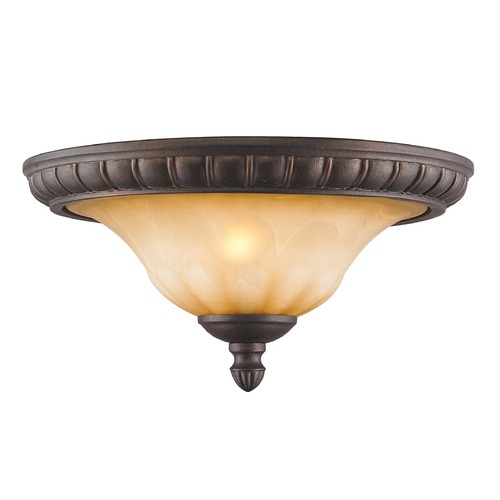 Golden Lighting Golden Lighting Mayfair Leather Crackle Flushmount Light 7116-17 LC