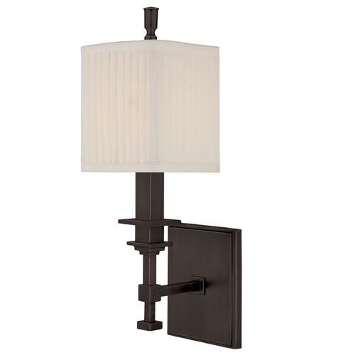Hudson Valley Lighting Sconce Wall Light with White Shade in Old Bronze Finish 241-OB