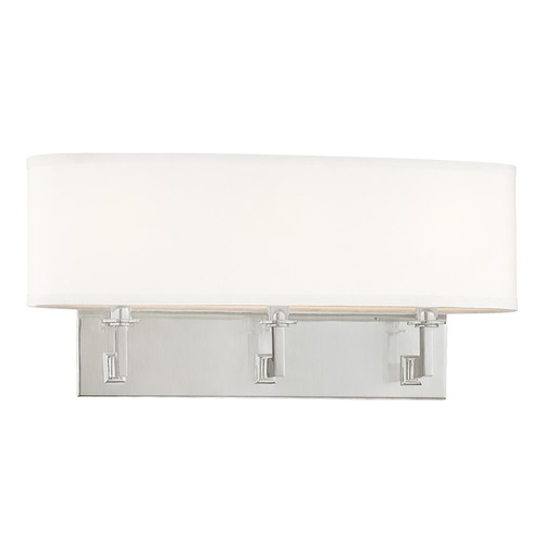 Hudson Valley Lighting Modern Sconce Wall Light with White Shades in Satin Nickel Finish 593-SN