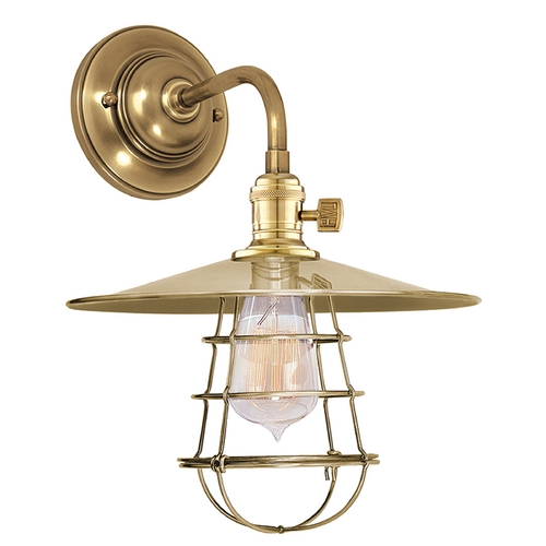 Hudson Valley Lighting Sconce Wall Light in Aged Brass Finish 8000-AGB-MS1-WG