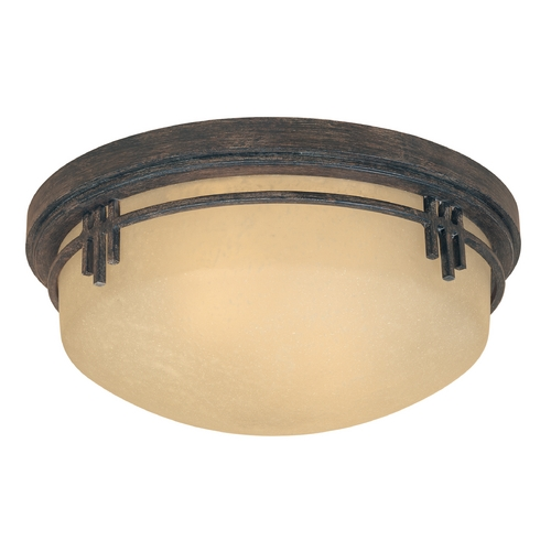 Designers Fountain Lighting Flushmount Light with Beige / Cream Glass in Warm Mahogany Finish 82121-WM