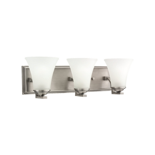Sea Gull Lighting Bathroom Light with White Glass in Antique Brushed Nickel Finish 44376-965