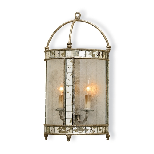 Currey and Company Lighting Plug-In Wall Lamp in Harlow Silver Leaf Finish 5032