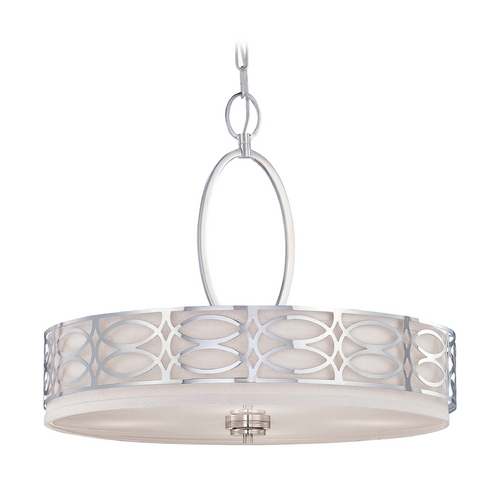 Nuvo Lighting Modern Drum Pendant Light with Grey Shade in Polished Nickel Finish 60/4626