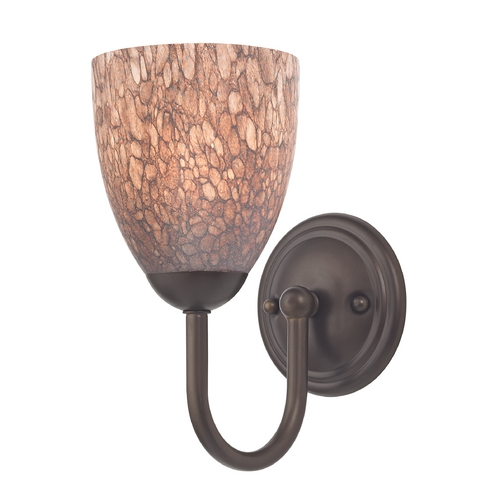 Design Classics Lighting Sconce with Brown Art Glass in Bronze Finish 593-220 GL1016MB