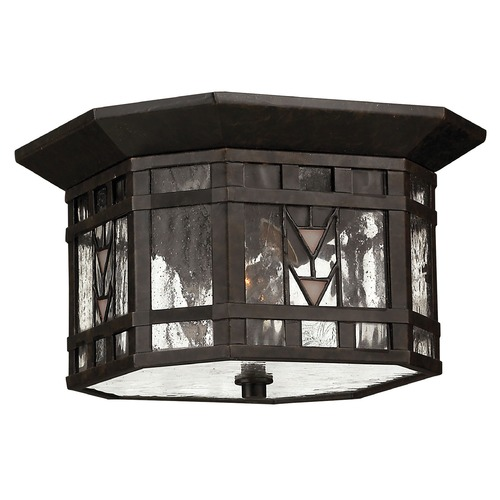 Hinkley Lighting Close To Ceiling Light with Copper Glass in Regency Bronze Finish 2243RB
