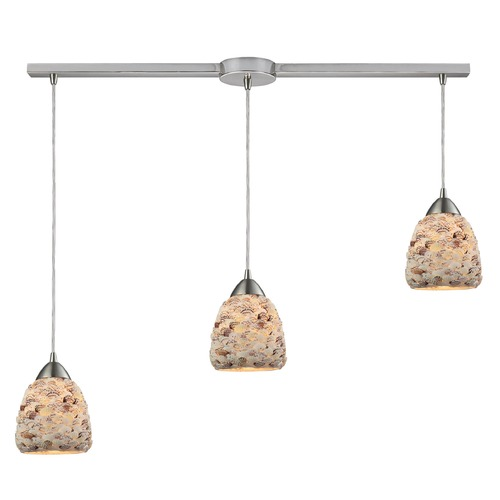 Elk Lighting Elk Lighting Shells Satin Nickel Multi-Light Pendant with Bowl / Dome Shade 10415/3L