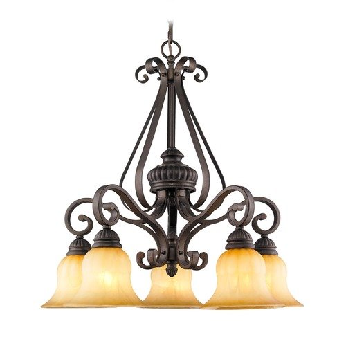 Golden Lighting Golden Lighting Mayfair Leather Crackle Chandelier 7116-D5 LC