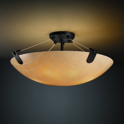 Justice Design Group Justice Design Group U-Clips Family Matte Black Semi-Flushmount Light 3FRM-9612-35-TAKE-MBLK