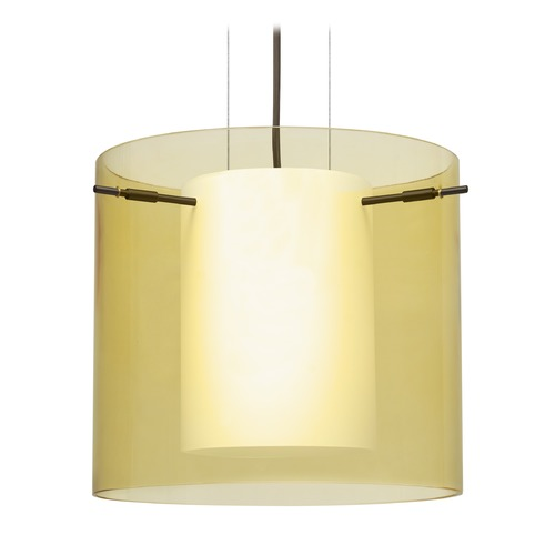 Besa Lighting Besa Lighting Pahu Bronze Pendant Light with Drum Shade 1KG-Y18407-BR