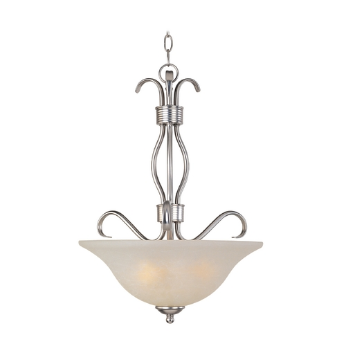 Maxim Lighting Modern Pendant Light with White Glass in Satin Nickel Finish 85121ICSN
