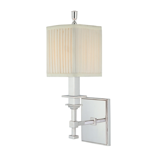 Hudson Valley Lighting Sconce Wall Light with White Shade in Polished Nickel Finish 241-PN