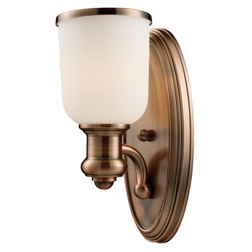 Elk Lighting Modern Sconce Wall Light with White Glass in Antique Copper Finish 66180-1
