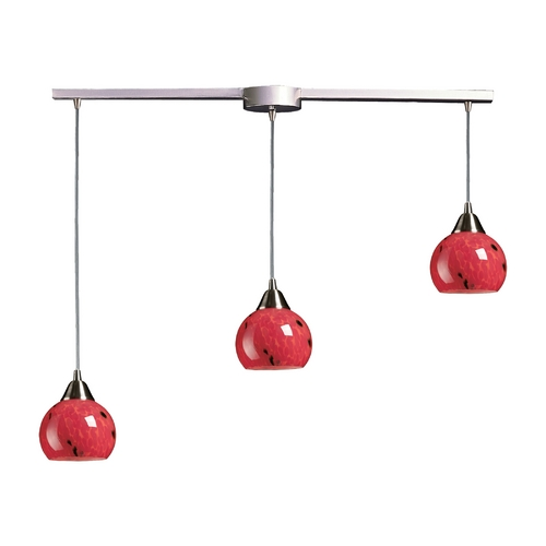 Elk Lighting Multi-Light Pendant Light with Red Glass and 3-Lights 101-3L-FR