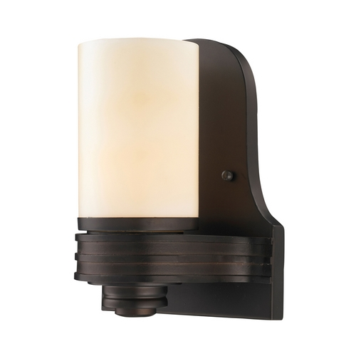 Elk Lighting Modern Sconce Wall Light with Amber Glass in Aged Bronze Finish 61065-1