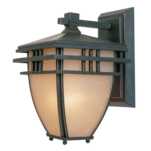 Designers Fountain Lighting Outdoor Wall Light with Beige / Cream Glass in Aged Bronze Patina Finish 30811-ABP