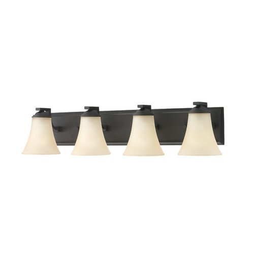 Sea Gull Lighting Bathroom Light with Beige / Cream Glass in Blacksmith Finish 44377-839