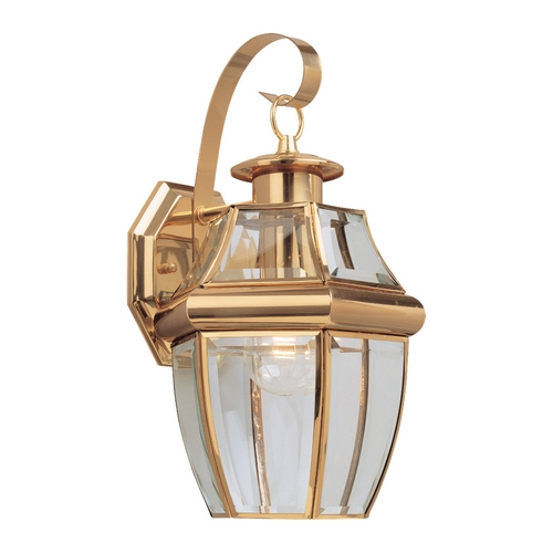 Sea Gull Lighting Outdoor Wall Light with Clear Glass in Polished Brass Finish 8067-02