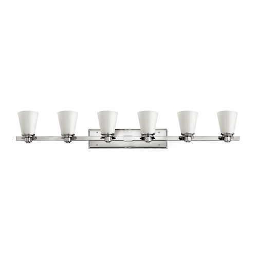Hinkley Lighting Bathroom Light with White Glass in Chrome Finish 5556CM