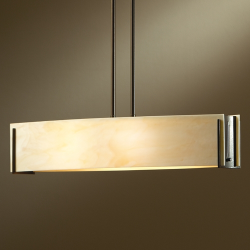 Hubbardton Forge Lighting Hubbardton Forge Lighting Intersections Dark Smoke Island Light with Rectangle Shade 137605-07-A164