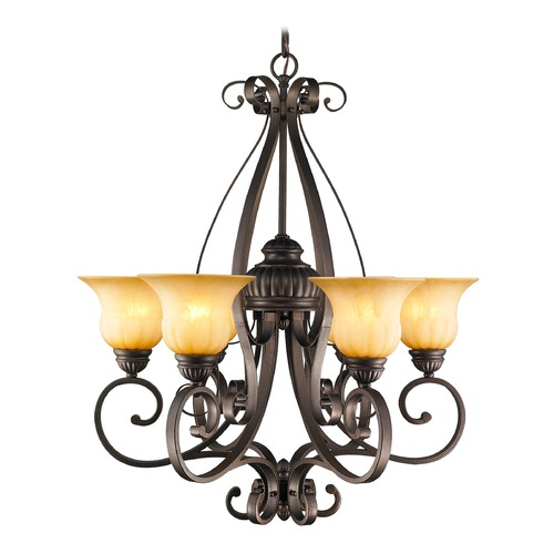 Golden Lighting Golden Lighting Mayfair Leather Crackle Chandelier 7116-6 LC