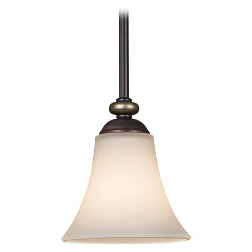 Minka Lavery Minka Shadowglen Lathan Bronze with Gold Mini-Pendant Light with Bell Shade 3281-589