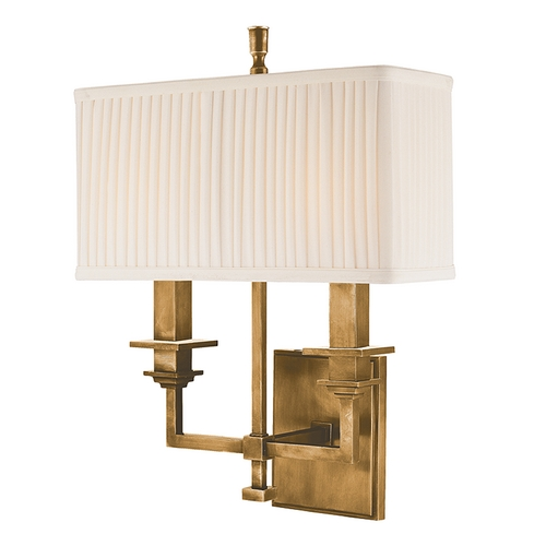 Hudson Valley Lighting Sconce Wall Light with White Shades in Aged Brass Finish 242-AGB