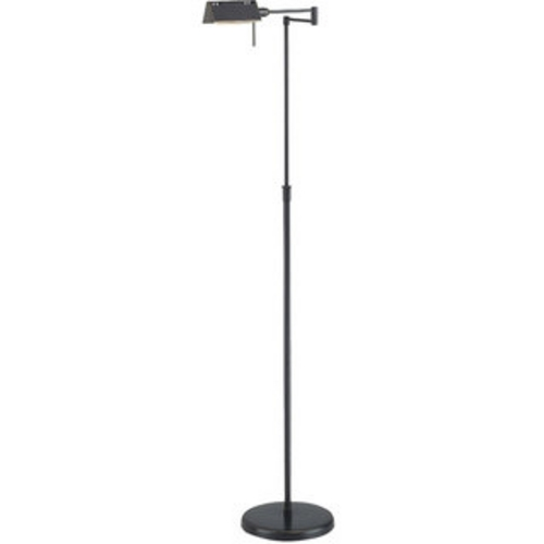 Lite Source Lighting Modern Floor Lamp with White Shade in Dark Bronze Finish LS-960D/BRZ