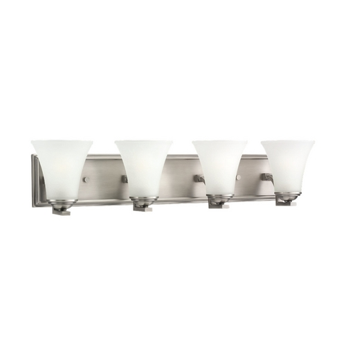Sea Gull Lighting Bathroom Light with White Glass in Antique Brushed Nickel Finish 44377-965