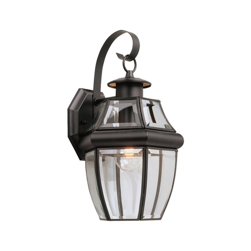 Sea Gull Lighting Outdoor Wall Light with Clear Glass in Black Finish 8067-12