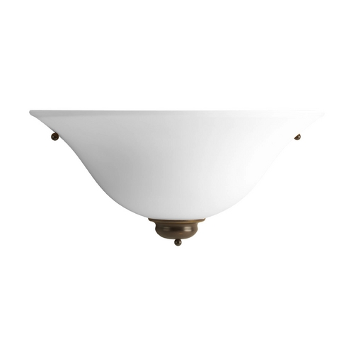 Progress Lighting Progress Sconce Wall Light with White Glass in Antique Bronze Finish P7153-20W