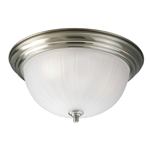 Progress Lighting Progress Lighting Melon Glass Brushed Nickel Flushmount Light P3704-09WB