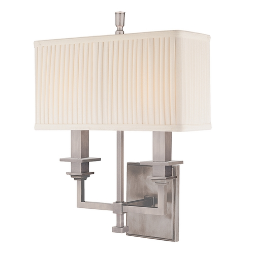 Hudson Valley Lighting Sconce Wall Light with White Shades in Antique Nickel Finish 242-AN