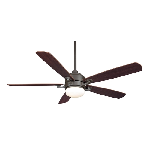 Fanimation Fans Modern Ceiling Fan with Light with White Glass in Oil-Rubbed Bronze Finish FP8003OB