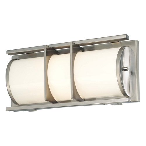 Minka Lavery Modern Bathroom Light with White Glass in Brushed Nickel Finish 6491-84