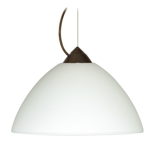 Besa Lighting Modern Pendant Light with White Glass in Bronze Finish 1KX-420207-BR