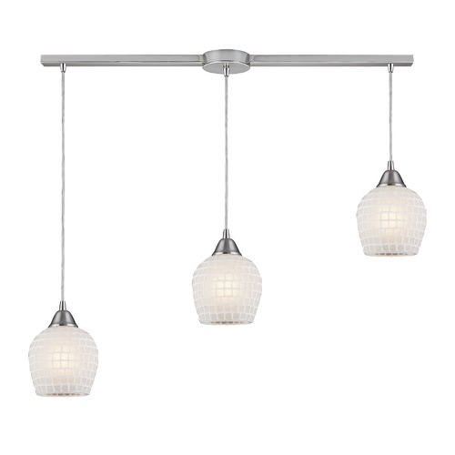 Elk Lighting Modern Multi-Light Pendant Light with White Glass and 3-Lights 528-3L-WHT
