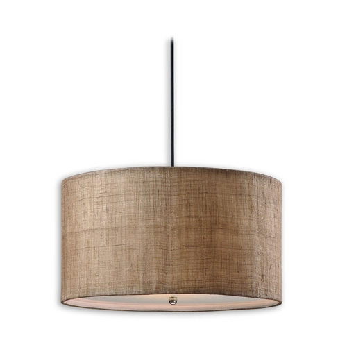 Uttermost Lighting Modern Drum Pendant Lights in Antique Burlap Finish 21933