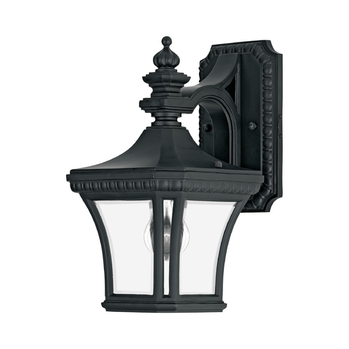 Quoizel Lighting Outdoor Wall Light with Clear Glass in Mystic Black Finish DE8407K